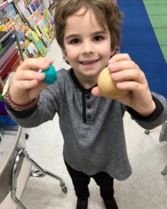 teaching shapes with play doh