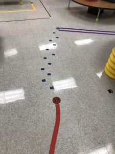sensory walk line on floor with tape