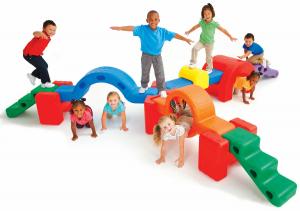 preschoolers using balance set