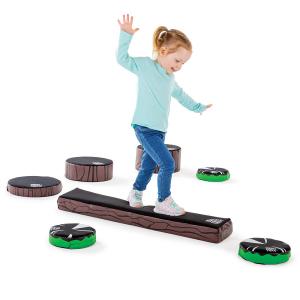 toddler using balance beam